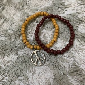 Jewelry - ✌🏻 Beaded Brown & Gold Peace Bracelets (Set of 2)